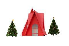 Rött litet hus och julgranar Royaltyfri Fotografi