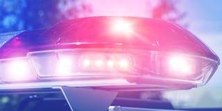 Rött ljusblinker av en patrullpolisbil på natten Att patrullera för natt av staden med blinkers vände på Säkerhetssiren av royaltyfri foto