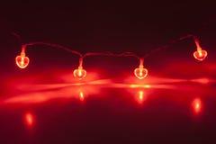 Rött ljuskedja Arkivbilder