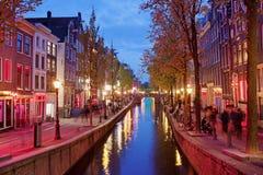 Rött ljusområde i Amsterdam Arkivfoton
