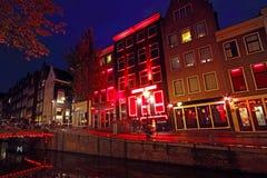 Rött ljusområde i Amsterdam Nederländerna Arkivbilder