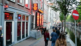 Rött ljusområde i Amsterdam, Nederländerna, Arkivbild