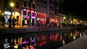 Rött ljusområde i Amsterdam, Nederländerna, Royaltyfria Foton