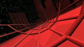 Rött lopp i modern stad för cyberspace 3d