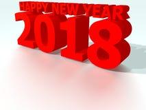 Rött lyckligt nytt år 2018 Stock Illustrationer