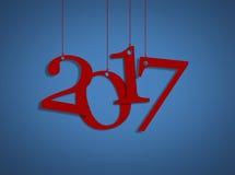 Rött lyckligt nytt år 2017 och blå bakgrund Arkivbilder