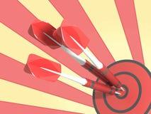 Rött mål med pil tre Royaltyfri Foto