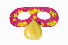 Rött maskera för parti och karneval arkivfoto