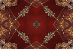 rött med den bruna ljusa orientaliska prydnaden stock illustrationer