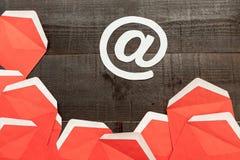 Rött meddelande Arkivbild