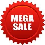 Rött mega emblem för försäljningsskyddsremsastämpel royaltyfri illustrationer