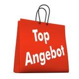 Rött mest bra erbjudande för shoppingpåse Arkivbilder