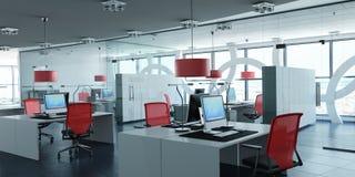 Rött modernt företags kontor royaltyfri illustrationer
