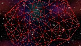 Rött nätverk som roterar i kosmos på stjärnklar himmel med nebulosan, Delaunay triangulering, science fictionlängd i fot räknat,  stock illustrationer