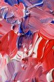 Rött och blått akrylkonstverk arkivbilder