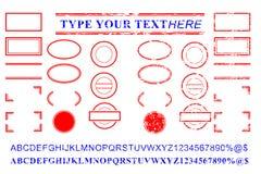 Rött och blått alfabet för tom mall, nummer, procent, dollar, prick, stjärna, rektangel, linjer oval effekt för rubber stämpel fö vektor illustrationer
