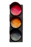Rött och den gula signalen av trafikljuset arkivbild