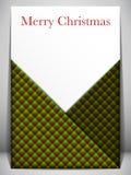 Rött och grönt kuvert för glad julkort Arkivfoton
