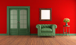Rött och grönt tappningrum stock illustrationer