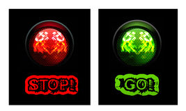 Rött och grönt trafikljus Arkivbild