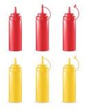 Rött och gult såsrör för verklig 3d Royaltyfri Bild