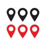 Rött och svart översiktsstift Symbol för lägeöversikt Lägestift Stiftsymbolsvektor stock illustrationer