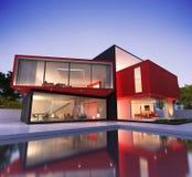 Rött och svart modernt hus royaltyfri illustrationer