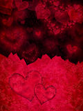 Rött och svart valentin dagkort Royaltyfri Fotografi