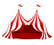 Rött och vitt cirkus- eller karnevaltält med flaggor och röd golvvektorillustration på den vita bakgrundswebbplatssidan och mobil vektor illustrationer