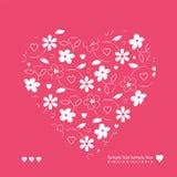Rött och vitt hjärtor och blommahälsningkort Royaltyfri Fotografi