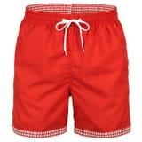 Rött och vitt med kortslutningar för män för rastermodell för att simma royaltyfri fotografi