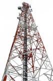 Rött och vitt telekommunikationtorn som isoleras på den vita backgrouen Royaltyfri Foto