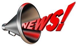 Rött ord för nyheterna och metallbullhorn Arkivbild