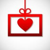 Rött pappers- baner med hjärtor Arkivfoto