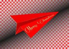 Rött pappers- flygplan, guld- glad jul som flyger, isolerat Royaltyfri Bild