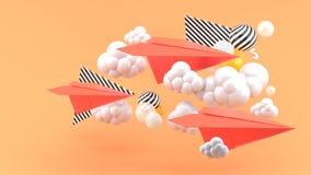 Rött pappers- flygplan under moln på orange bakgrund -3d framför vektor illustrationer