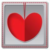 Rött pappers- kort för hjärtavalentindag Royaltyfri Bild