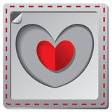 Rött pappers- kort för hjärtavalentindag Royaltyfria Foton