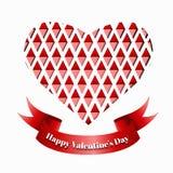 Rött pappers- kort för hjärtavalentindag. Royaltyfri Bild