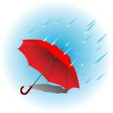 Rött paraply i regn Royaltyfria Foton
