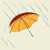 Rött paraply med regndroppar Fotografering för Bildbyråer
