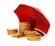 Rött paraply som skyddar guld- mynt illustration 3d Royaltyfria Foton