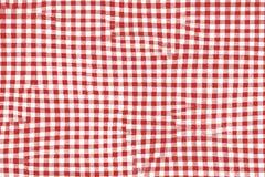 Rött picknickfilttyg med kvadrerad modeller och textur royaltyfri illustrationer