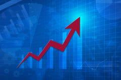 Rött pilhuvud med det finansiella diagrammet och grafen, framgångaffär, Royaltyfri Bild