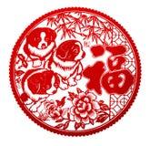 Rött plant papper-snitt på vit som ett symbol av det kinesiska nya året av t Royaltyfria Foton