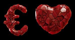 Rött plast- fastställt euro, hjärta som göras av 3d att framföra röd färg för plast- skärvor vektor illustrationer