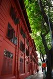 Rött prickdesignmuseum, singapore Royaltyfri Fotografi