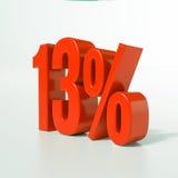 13 rött procent tecken Arkivfoton