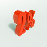 2 rött procent tecken Arkivfoton