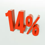 14 rött procent tecken Arkivfoton